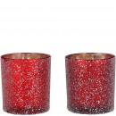 Glass windlight Leh, 2 colors, D7,5cm, H8cm, red /